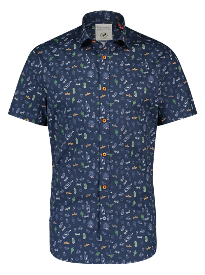 A FISH NAMED FRED Shirt SS Tequila Navy