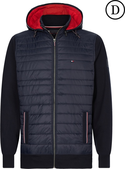 TOMMY Mixed Media Hooded Zip Through